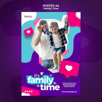 Familie tijd concept poster sjabloon