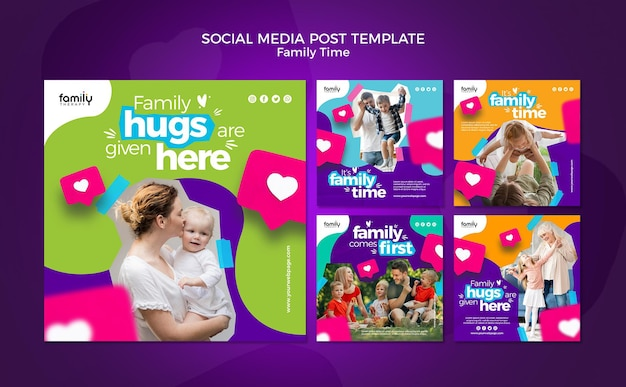 Familie tijd concept sociale media post sjabloon