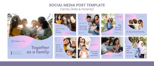 Familieberichten op sociale media met foto