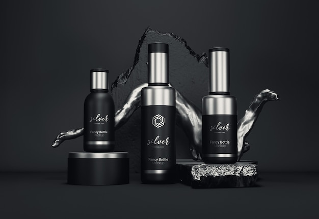 Fancy cosmetic bottle packaging mockup silver version