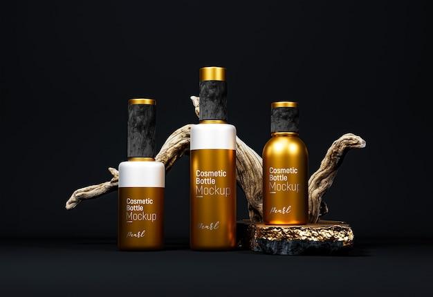 Fancy cosmetische flesverpakking mockup gouden versie