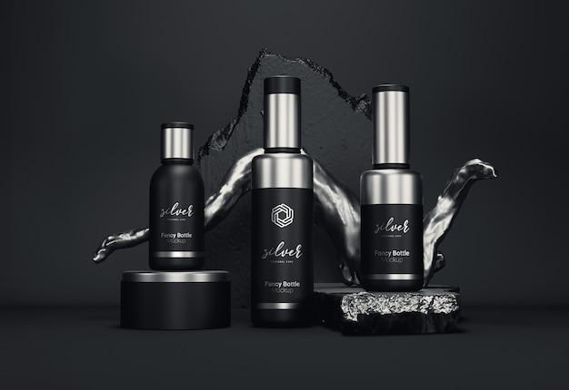 Fancy cosmetische flesverpakkingen mockup zilveren versie