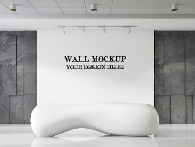 Fantastico mockup futuristico della parete della reception