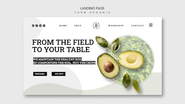 Farm organisch bestemmingspagina-ontwerp