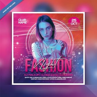 Fashion nacht feest flyer