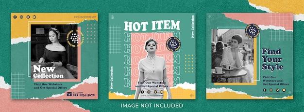Fashion sale retro vintage social media post set sjabloon