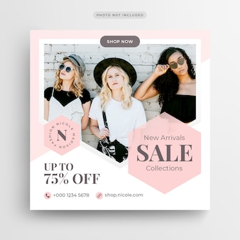 Fashion sale social media banner of square flyer