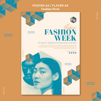 Fashion week flyer sjabloon stijl