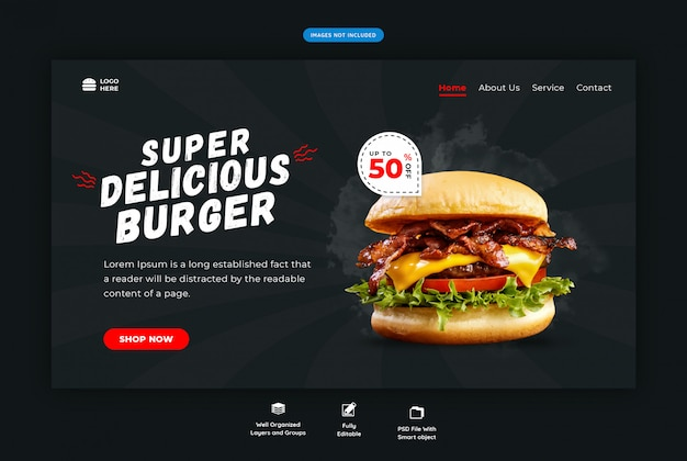 Fast-food hamburger horizontale websjabloon