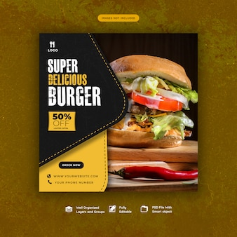 Fast food hamburger sociale media sjabloon