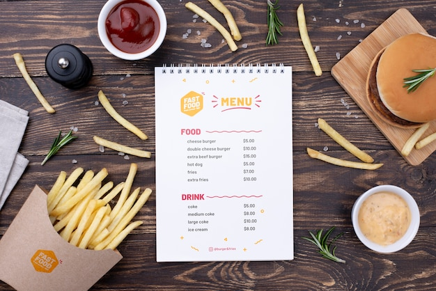 Fast-food menu concept mock-up Gratis Psd