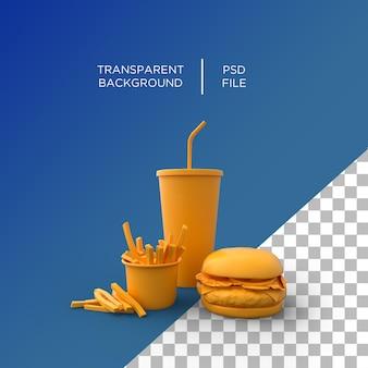 Fast food minimalisme 3d weergegeven