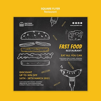 Fast food restaurant kwadraat flyer-sjabloon