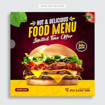 Fast food sociale media-promotie en instagram post-ontwerpsjabloon