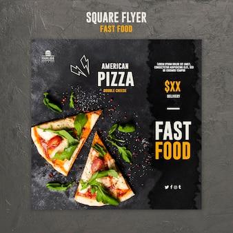 Fast food vierkante flyer stijl
