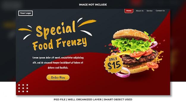 Fastfood en restaurant bestemmingspagina sjabloon met gelezen en zwart psd-ontwerp
