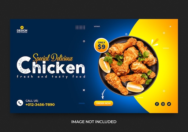 Fastfood kip sociale media en web restaurant banner ontwerpsjabloon