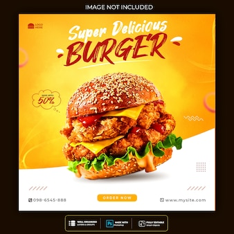 Fastfoodburger sociale media en instagram-banner