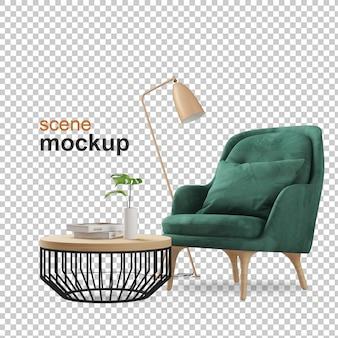 Fauteuil en plant mockup 3d-rendering