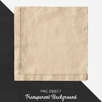 Fazzoletto di lino beige su sfondo trasparente
