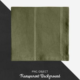 Fazzoletto di lino verde oliva su sfondo trasparente