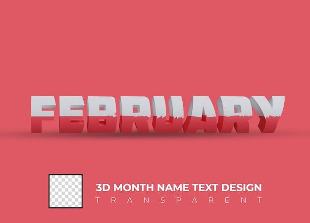 Februari kleurrijke 3d tekst geïsoleerd op transparante achtergrond. 3d render.