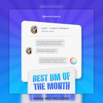 Feedback concept sjabloonontwerp en beste dm social media post en instagram postsjabloon