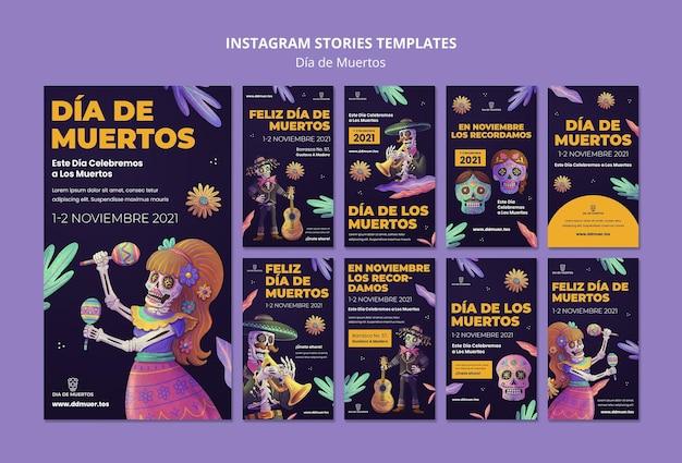 Feestelijke dia de muertos sociale media verhalen
