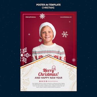 Feestelijke kerstafdruksjabloon