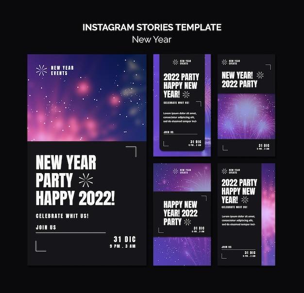 Feestelijke nieuwjaarsfeest instagram verhalencollectie