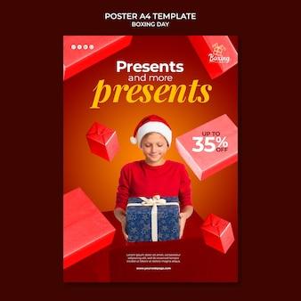 Feestelijke tweede kerstdag afdruksjabloon