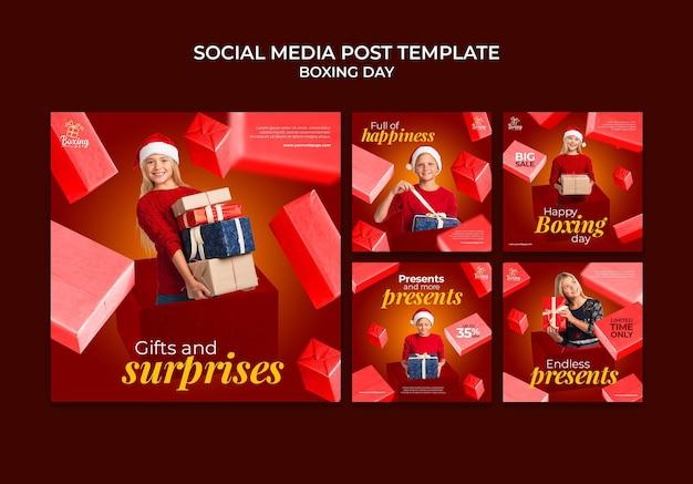 Feestelijke tweede kerstdag social media posts collectie