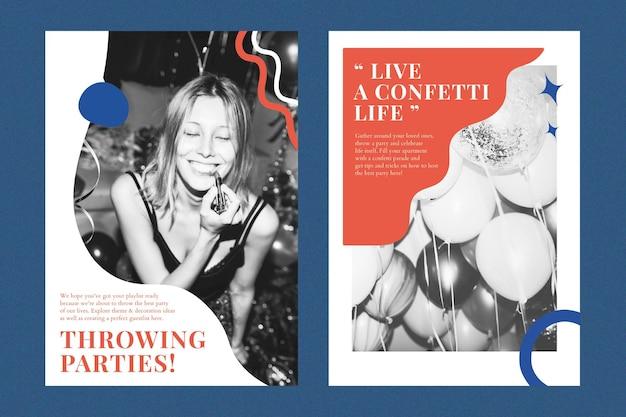 Feestevenement marketingsjabloon psd advertentieposter voor organisatoren dubbele set