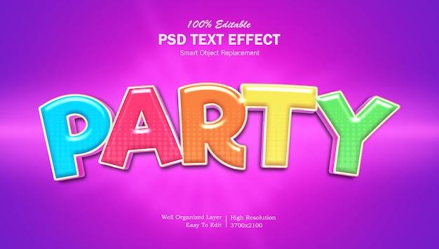 Feeststijl kleurrijk bewerkbaar teksteffect