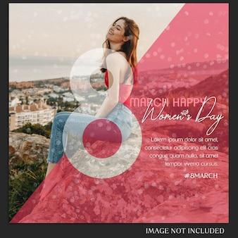 Felice giorno della donna e 8 marzo saluto modello di instagram post