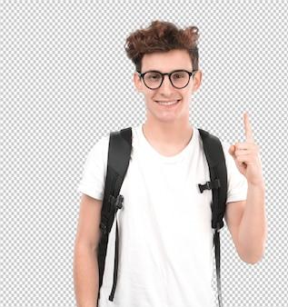 Felice giovane studente con un gesto del numero uno
