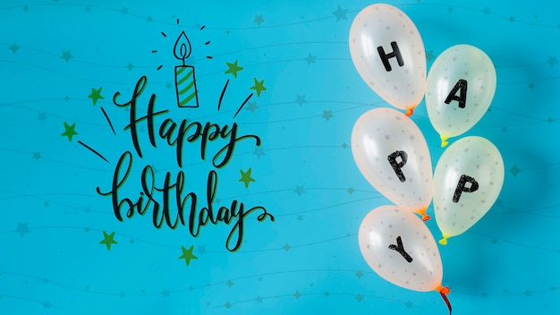 Felice scritto su palloncini per il giorno dell'anniversario