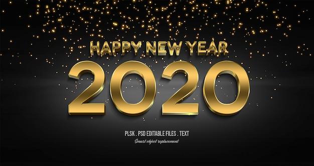 Feliz año nuevo 2020 efecto de estilo de texto en 3d