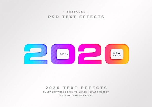Feliz año nuevo 2020 efecto de estilo de texto