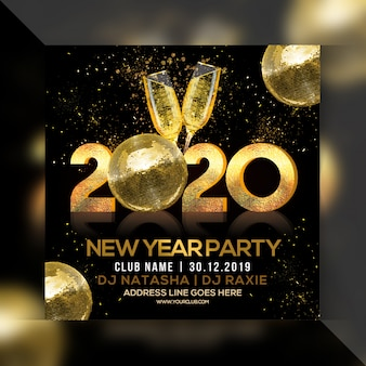 Feliz año nuevo 2020 flyer cuadrado de fiesta