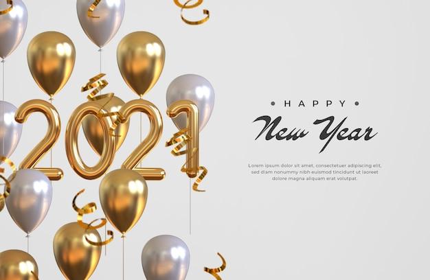 Feliz año nuevo 2021 con globos y confeti.