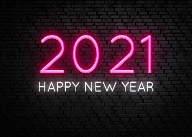Feliz año nuevo 2021 luz de neón
