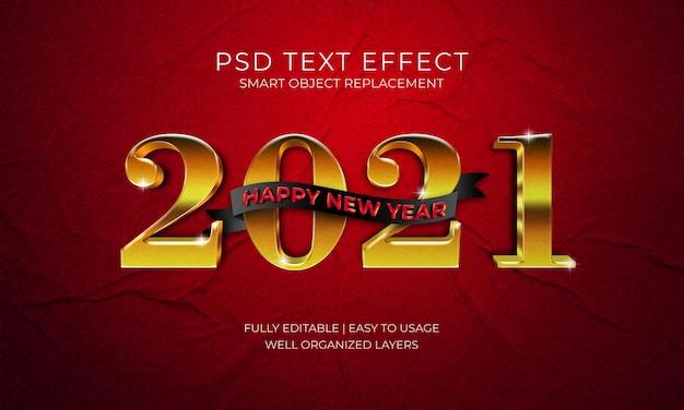 Feliz año nuevo 2021 plantilla de efecto de texto dorado