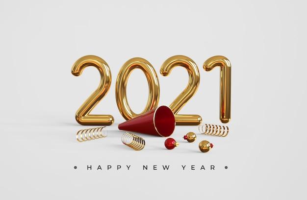 Feliz año nuevo 2021 con trompeta y bolas navideñas.