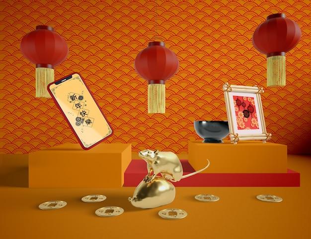 Feliz año nuevo chino con maqueta de teléfono
