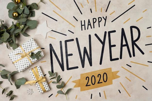 Feliz año nuevo concepto con regalos