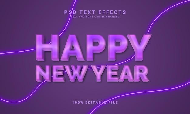 Feliz año nuevo plantilla de efecto de texto editable