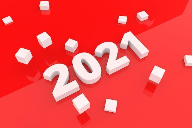 Feliz año nuevo texto estilo de fondo rojo