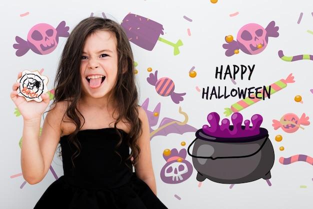 Feliz chica linda de halloween y crisol animado