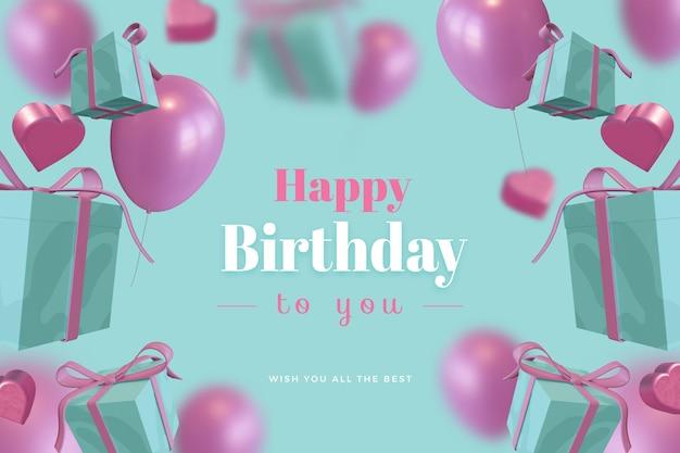 Feliz cumpleaños con caja de regalo globo amor maqueta de renderizado 3d